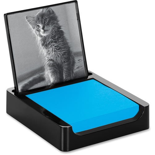 """Post-it® Note Holder with Photo Frame, Black - 3"""" x 3"""" - 100 Note Capacity - Black"""