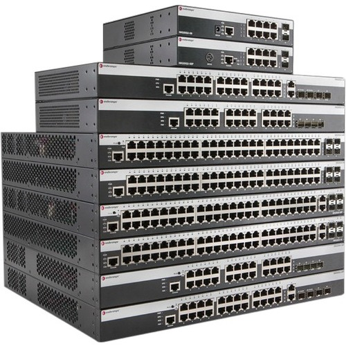 Enterasys 24 Port 10/100 PoE (802.3at) 800-Series Layer 2 Switch with Quad 1Gb Uplinks