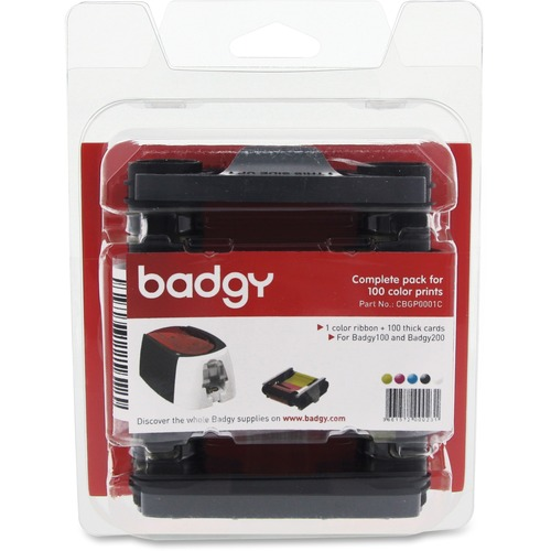 EVOLIS - GMP BADGY100/200 CONSUMABLE PACK COLOR RIBBON 100 THICK CARDS 30MIL