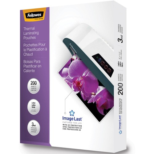 """Fellowes Thermal Laminating Pouches - ImageLast™, Jam Free, Letter, 3mil, 200 pack - Laminating Pouch/Sheet Size: 9"""" Width x 3 mil Thickness - UV Resistant, Fade Resistant, Jam-free - Clear - 200 / Pack"""