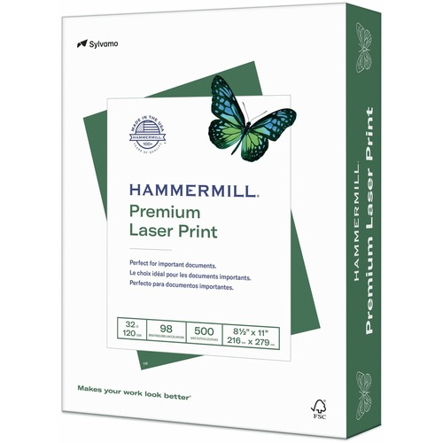 """Laser print paper, 32 lb, 98 ge, 8-1/2""""x11"""", 500/rm, we, sold as 1 ream, 8 package per ream"""