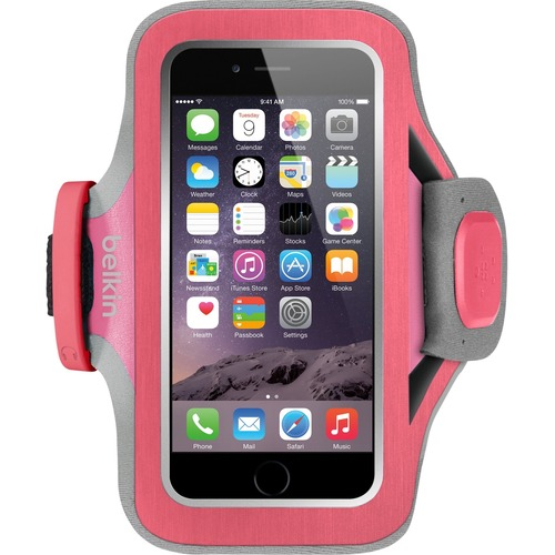 Belkin Slim-Fit Plus Carrying Case Armband for iPhone - Fuchsia - Neoprene, Fabric - Armband