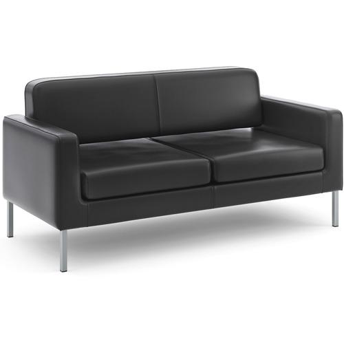"HON Corral Sofa - 30.50"" (774.70 mm) x 67"" (1701.80 mm) x 28"" (711.20 mm) - SofThread Leather Black Seat - SofThread Leather Black Back - 1 Each"