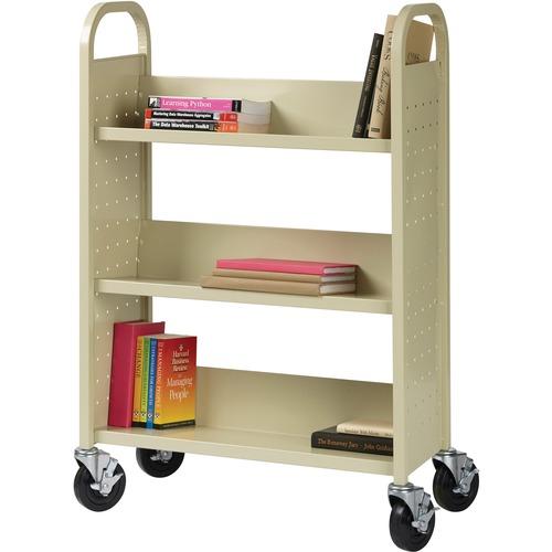 "Lorell Single-sided Book Cart - 3 Shelf - 90.72 kg Capacity - 5"" (127 mm) Caster Size - Steel - x 39"" Width x 14"" Depth x 46"" Height - Putty - 1 Each"