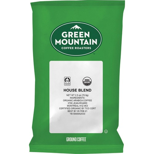 Green Mountain Coffee Fair Trade Organic House Blend - Regular - House Blend - Light - 2.5 oz - 50 CoffeeBag - 50 / Carton