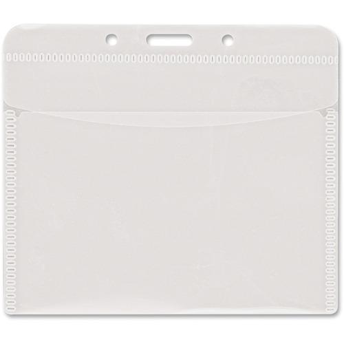 "Advantus PVC-Free Horizontal Badge Holder - Support 4"" (101.60 mm) x 3"" (76.20 mm) Media - Horizontal - Polypropylene - 50 / Pack - Clear"