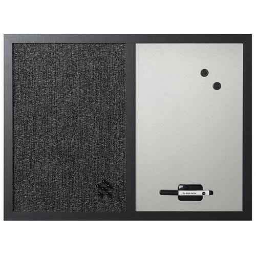 "MasterVision Dry-erase Combination Board - 18"" (457.20 mm) Height x 24"" (609.60 mm) Width - Felt Surface - Magnetic, Lightweight - Black Medium Density Fiber (MDF) Frame - 1 Each"