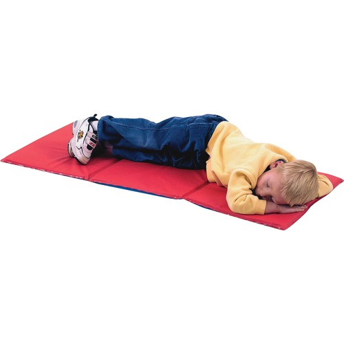 """Children's Factory 3-section Infection Control Mat - 45"""" Length x 19"""" Width x 0.75"""" Thickness - Rectangle - Vinyl - Red, Blue"""