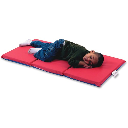 """Children's Factory 3-section Infection Control Mat - 48"""" Length x 24"""" Width x 2"""" Thickness - Rectangle - Vinyl - Red, Blue"""
