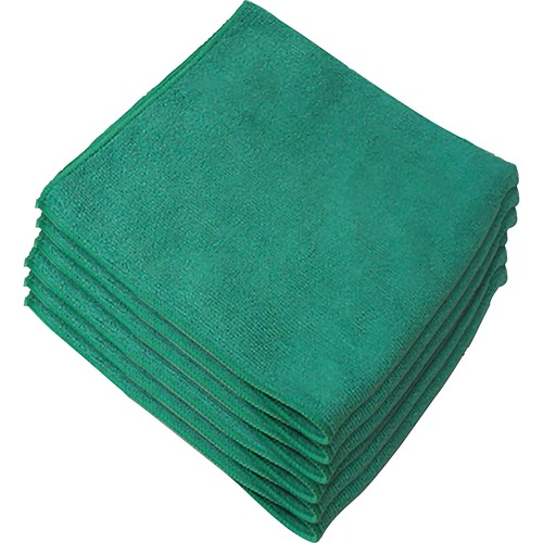 "Genuine Joe General Purpose Microfiber Cloth - Cloth - 16"" (406.40 mm) Width x 16"" (406.40 mm) Length - 12 / Bag - Green"
