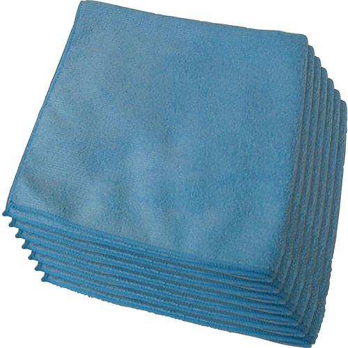 "Genuine Joe General Purpose Microfiber Cloth - Cloth - 16"" (406.40 mm) Width x 16"" (406.40 mm) Length - 12 / Bag - Blue"