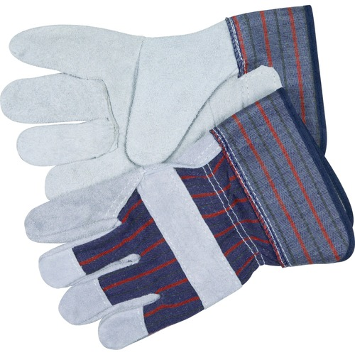 MCR Safety Leather Palm Economy Safety Gloves - Medium Size - Leather Palm, Rubber Cuff - Blue - For Assembling, Construction, Landscape - 2 / Pair