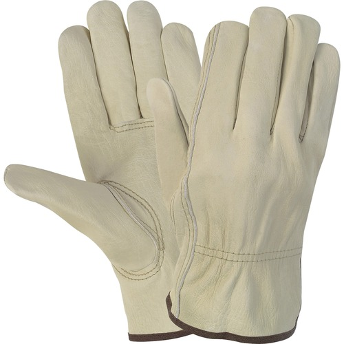 MCR Safety Durable Cowhide Leather Work Gloves - Medium Size - Cowhide Leather - Cream - Durable, Comfortable, Flexible - For Construction - 2 / Pair