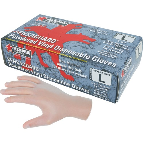 MCR Safety Powdered Vinyl Disposable Gloves - Large Size - Vinyl - White - Powdered, Latex-free, Disposable, Ambidextrous - For Medical, Assembling, Food Packing, Food Handling, Cleaning, Industrial - 1 / Box - 5 mil Thickness