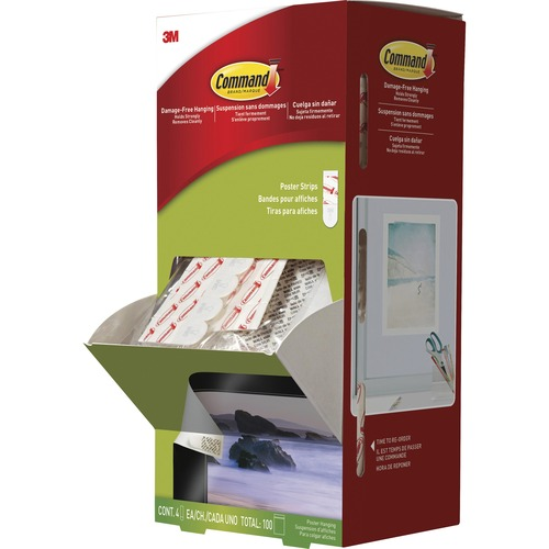 """Command Poster Strips Trial Pack - 2.13"""" Length x 0.75"""" Width - Foam - 100 / Carton - White"""
