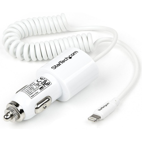 StarTech.com Dual Port Car Charger with Apple 8-pin Lightning Connector and USB 2.0 Port | High Power (21 Watt / 4.2 Amp)