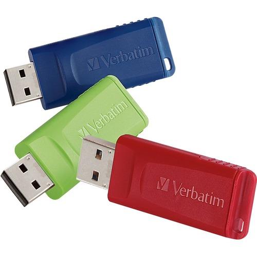Verbatim 8GB Store 'n' Go USB Flash Drive   3pk   Red, Green, Blue