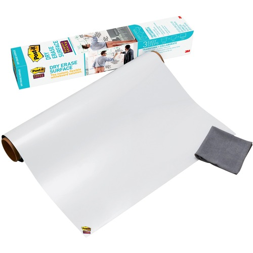 "Post-it Self-Stick Dry Erase Film Surface, 36 x 24, White - 24"" (2 ft) Width x 36"" (3 ft) Length - White - Rectangle - 1 / Pack"