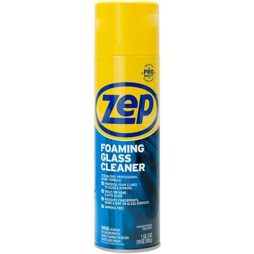 Zep Foaming Glass Cleaner - Foam Spray - 19 oz (1.19 lb) - 1 Each - Black