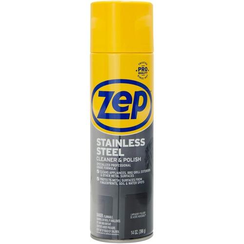 Zep Stainless Steel Polish - Spray - 14 fl oz (0.4 quart) - 1 Each - Chrome, Black