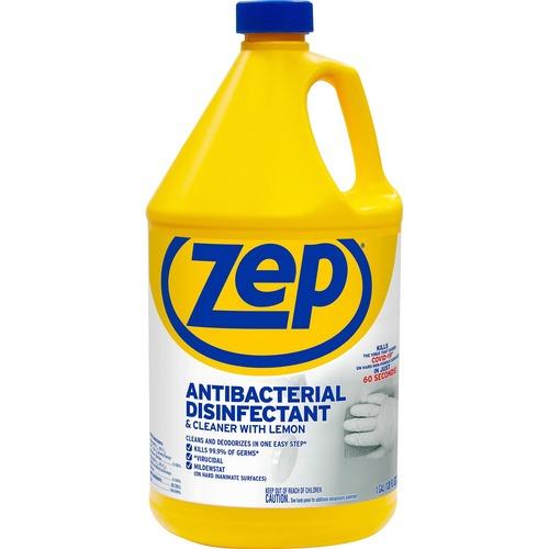 Zep Antibacterial Disinfectant and Cleaner - Liquid - 128 fl oz (4 quart) - Lemon Scent - 1 Each - Blue