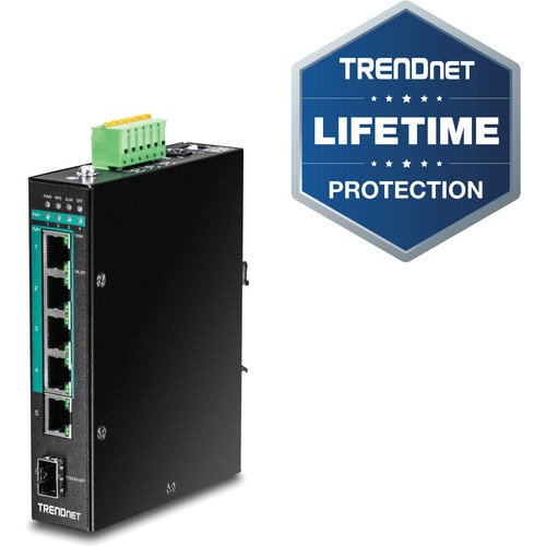 TRENDnet 5-Port Hardened Industrial Gigabit PoE+ DIN-Rail Switch - 5 Network, 1 Expansion Slot - Twisted Pair - 2 Layer Supported - Rail-mountable