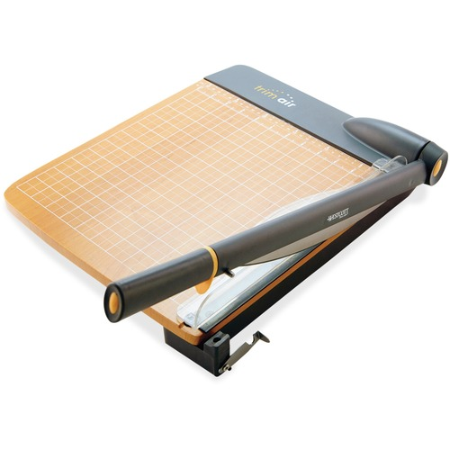 """Westcott TrimAir 12"""" Wood Guillotine Trimmer - 30 Sheet Cutting Capacity - 15"""" (381 mm) Cutting Length - Ergonomic Handle, Bonded Blades, Safety Guard, Safety Lock, Antimicrobial - Titanium, Wood - Transparent - 1 Each"""