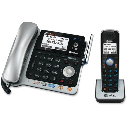 at t connect to cell tl86103 dect 6 0 cordless phone silver black corded cordless 2 x. Black Bedroom Furniture Sets. Home Design Ideas