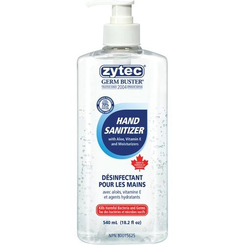 Zytec Germ Buster Sanitizing Gel - 550 mL - Pump Bottle Dispenser - Kill Germs, Bacteria Remover - Hand - Clear - 1 Each
