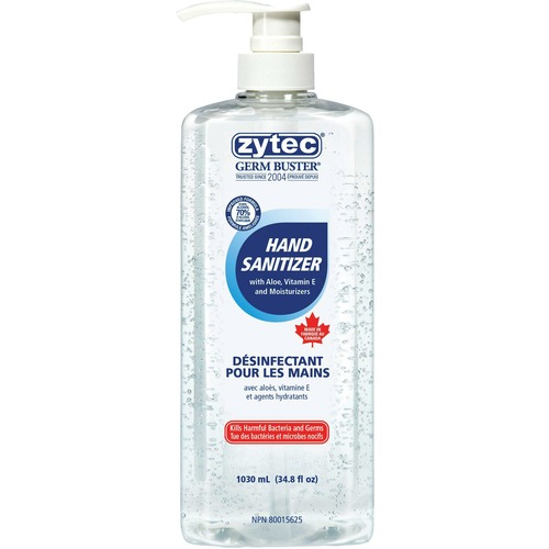 Zytec Germ Buster Sanitizing Gel - 1.05 L - Pump Bottle Dispenser - Kill Germs, Bacteria Remover - Hand - Clear - 1 Each