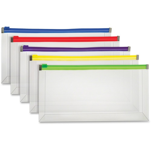 """Pendaflex Check-size Colour Zipper Poly Envelopes - 10 1/4"""" Width x 5 1/4"""" Length - Zippered - Poly - 5 / Pack - Assorted"""