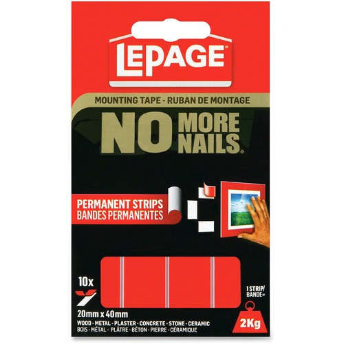 """LePage No More Nails Mounting Tape Permanent Strips - 1.57"""" (40 mm) Length x 0.79"""" (20 mm) Width - Permanent Adhesive Backing - 10 / Pack - Red"""