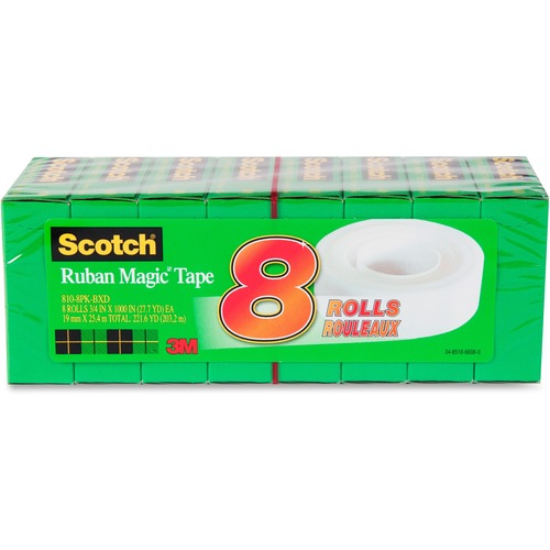 """Scotch Invisible Magic Tape Boxed Refill Roll - 27.8 yd (25.4 m) Length x 0.75"""" (19 mm) Width - Permanent Adhesive Backing - 8 / Pack - Transparent"""