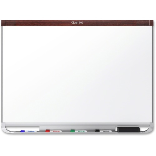 """Quartet Prestige 2 Mahogany Magnetic Total Erase Board - 36"""" (3 ft) Width x 24"""" (2 ft) Height - White Surface - Mahogany Frame - Rectangle - 1 Each"""