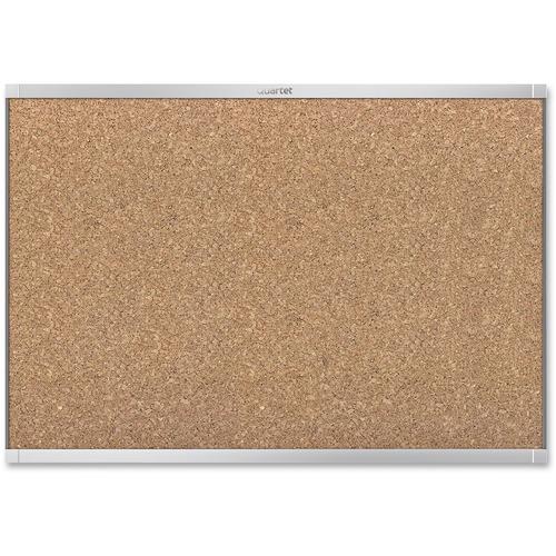 "Quartet Prestige 2 Aluminum Frame Magnetic Cork Board - 36"" (914.40 mm) Height x 48"" (1219.20 mm) Width - Cork Surface - Magnetic - Aluminum Frame - 1 Each"