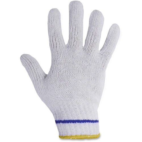 """RONCO Poly/Cotton Blue Lined Gloves - 8 Size Number - Medium Size - Poly, Cotton - White, Yellow - Comfortable, Breathable, Knitted Cuff, Stretchable, Flexible, Machine Washable - For Assembling, Warehouse - 24 / Bag - 9.25"""" (235 mm) Glove Length"""