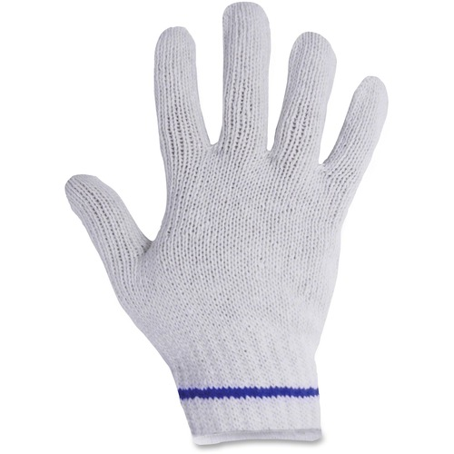 """RONCO Poly/Cotton Blue Lined Gloves - Large Size - Poly, Cotton - White - Comfortable, Breathable, Knitted Cuff, Stretchable, Flexible, Machine Washable - For Assembling, Warehouse - 24 / Bag - 9.84"""" (250 mm) Glove Length"""
