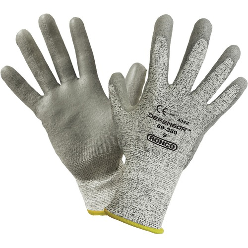 RONCO DEFENSOR Palm Coated HPPE Gloves - 9 Size Number - Large Size - High Performance Polyethylene (HPPE), Polyurethane Palm Pad - Gray - Cut Resistant, Snag Resistant, Scrape Resistant, Abrasion Resistant, Tear Resistant, Puncture Resistant, Comfortable