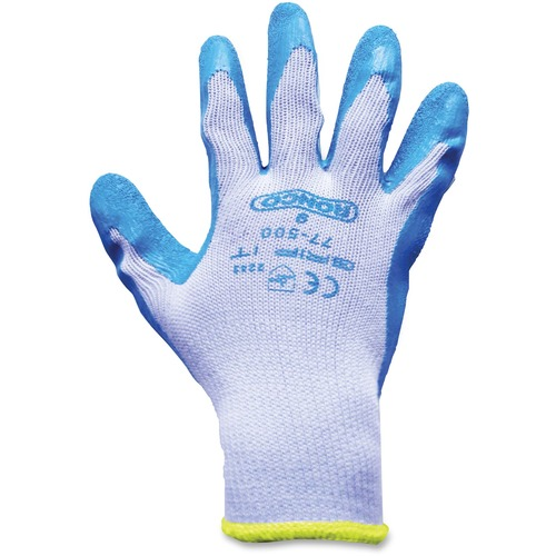 RONCO Grip-it Latex Palm Coated Gloves - Medium Size - Poly Cotton, Latex Palm Pad - Gray, Blue - Knitted Cuff, Abrasion Resistant, Cut Resistant, Snag Resistant, Flexible, Lightweight, Breathable, Comfortable, Snug Fit - For General Purpose, Farming, Con