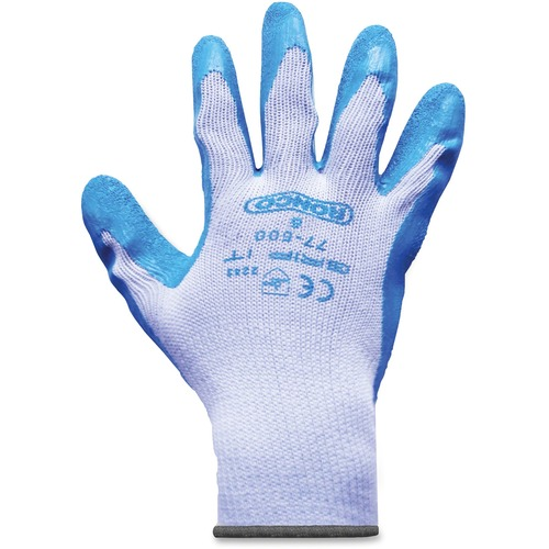 RONCO Grip-it Latex Palm Coated Gloves - Large Size - Poly Cotton, Latex Palm Pad - Gray, Blue - Knitted Cuff, Abrasion Resistant, Cut Resistant, Snag Resistant, Flexible, Lightweight, Breathable, Comfortable, Snug Fit - For General Purpose, Farming, Cons