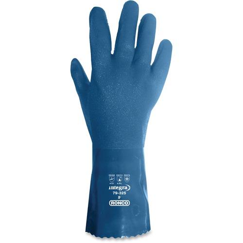 "RONCO Integra 12"" PVC Plus Gloves - Large Size - Polyvinyl Chloride (PVC), Polymer, Cotton Liner - Blue - Comfortable, Flexible, Abrasion Resistant, Oil Resistant, Solvent Resistant, Acid Resistant - For Chemical, Fishing, Masonry, Petrochemical Handling,"
