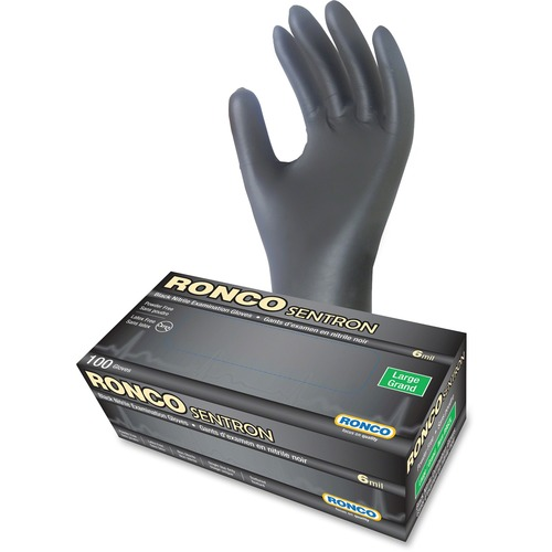 RONCO Sentron Nitrile Powder Free Gloves - Large Size - Textured - Nitrile - Black - Powder-free, Oil Resistant, Solvent Resistant, Tear Resistant, Puncture Resistant, Disposable, Latex-free - For Industrial, Automotive, Inspection, Military, Security, Fo