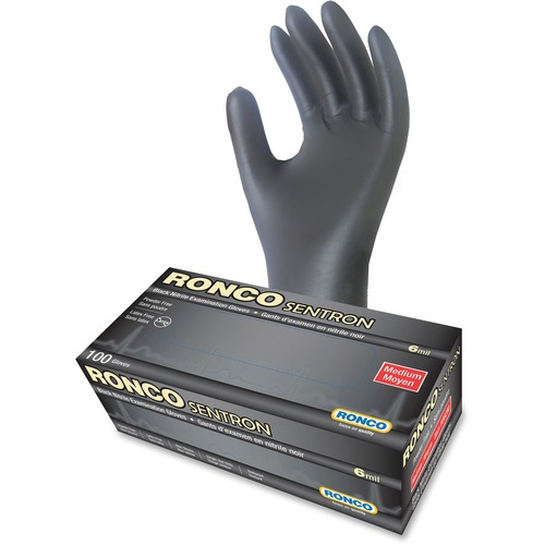 RONCO Sentron Nitrile Powder Free Gloves - Medium Size - Textured - Nitrile - Black - Powder-free, Oil Resistant, Solvent Resistant, Tear Resistant, Puncture Resistant, Disposable, Latex-free - For Industrial, Automotive, Inspection, Military, Security, F