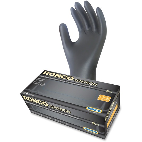 RONCO Sentron Nitrile Powder Free Gloves - X-Large Size - Textured - Nitrile - Black - Powder-free, Oil Resistant, Solvent Resistant, Tear Resistant, Puncture Resistant, Disposable, Latex-free - For Industrial, Automotive, Inspection, Military, Security,