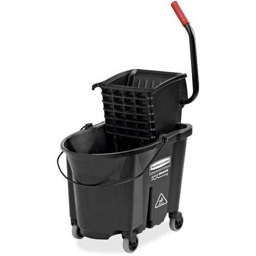 "Rubbermaid 35 quart Mop Bucket w/ Ringer - 33.12 L - Caster, Handle, Dual Bucket, Durable - 19.80"" (502.92 mm) x 16.10"" (408.94 mm) - Black - 1 Each"