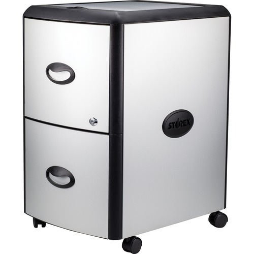 """Storex Metal-clad Mobile Filing Cabinet - 19"""" x 15"""" x 23"""" for File - Letter - Washable, Durable, Locking Drawer, Locking Casters - Platinum, Gray - Me"""