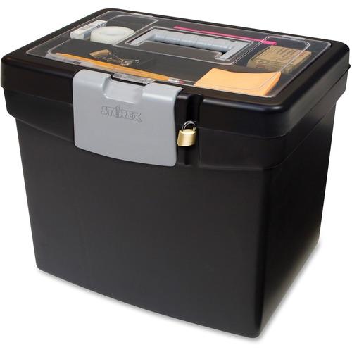 Storex Portable File Box with Top Organizer