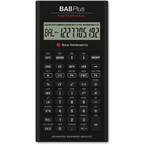 """Texas Instruments BA-II Plus Professional Calculator - Protective Hard Shell Cover, Automatic Power Down - 10 Digits - LCD - Battery Powered - Battery Included - 1 - CR2032 - 0.8"""" x 3.1"""" x 6"""" - Black - 1 Each"""
