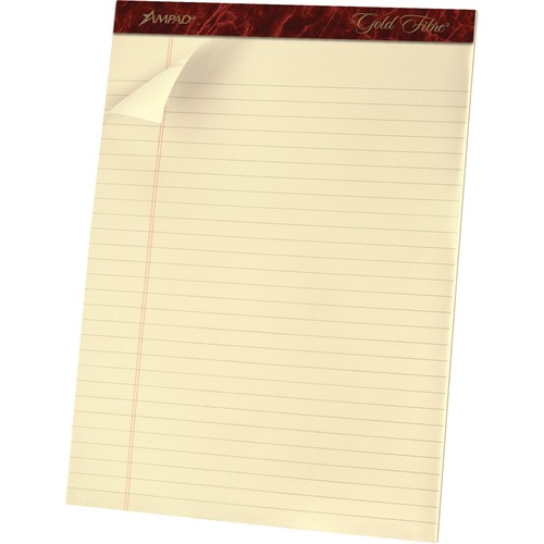 """TOPS Gold Fibre College-ruled Ivory Pads - 70 Sheets - Stapled/Glued - 8 1/2"""" x 11 3/4"""" - Ivory Paper - Micro Perforated, Chipboard Backing, Easy Tear - 1Each"""