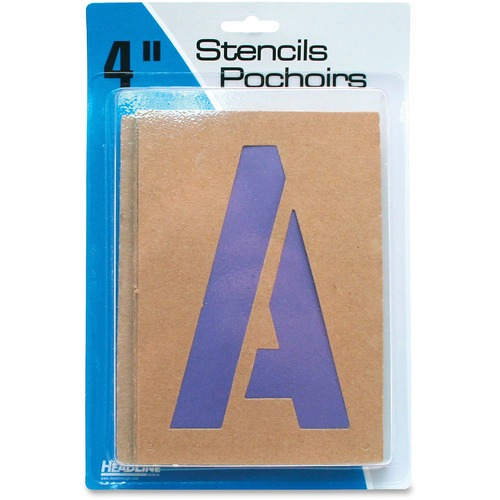 """U.S. Stamp & Sign Brown Paper Letters/Numbers Stencils - 4"""" (101.60 mm) - Number, Capital Letter - Natural, Purple"""